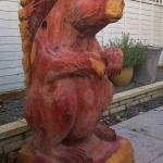 chainsaw carved large red squirrel