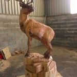 Reindeer chainsaw carving